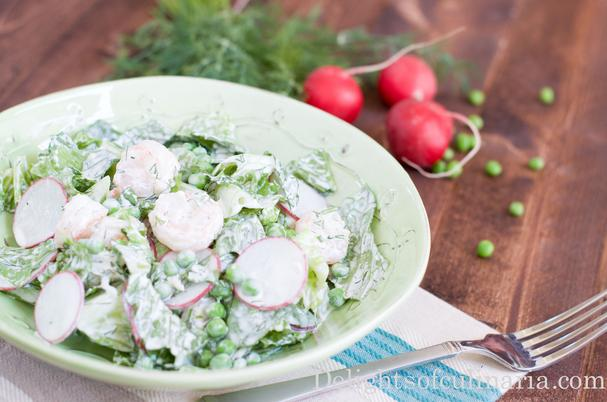 Shimp, Pea, and Radish Salad with Herb Yogurt Dressing
