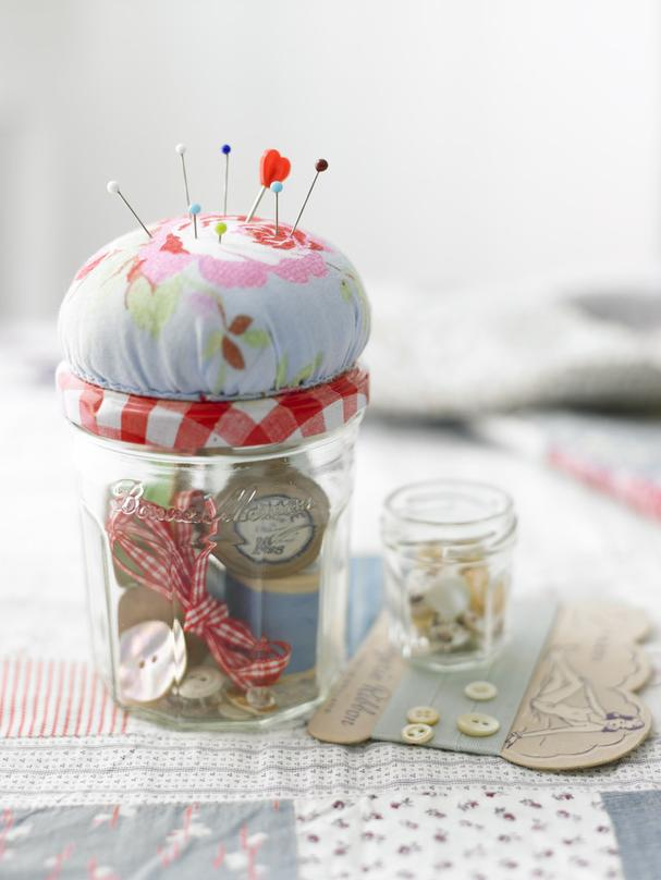 Recycled jam jars for sewing
