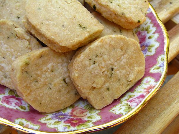 Homemade parmesan thyme crackers