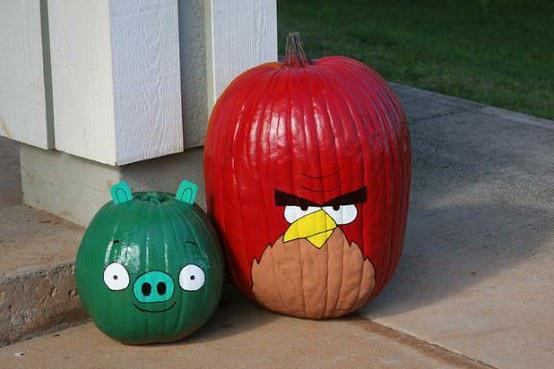 painted angry birds pumpkins