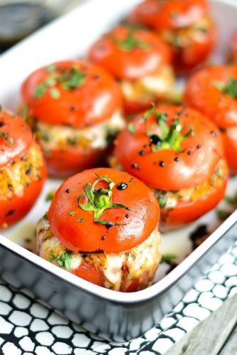 Couscous stuffed tomatoes with balsamic reduction