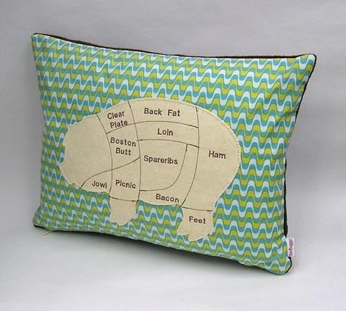 Pig Meat Chart Pillow