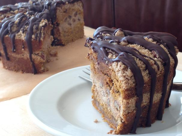 Gluten-free, soy-free, vegan Pumpkin Pecan Streusel Cake