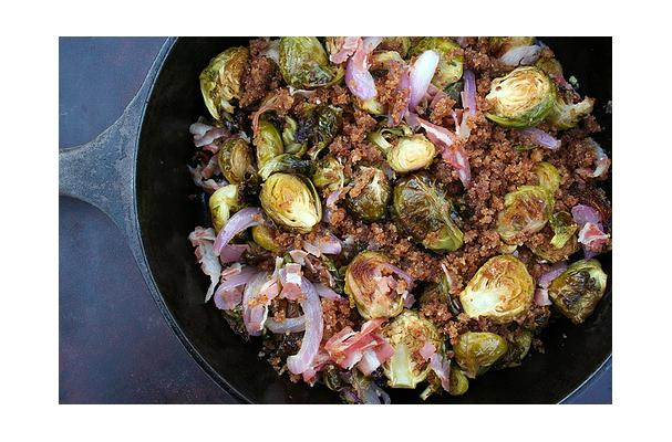 Roasted Brussels Sprouts with Red Onion and Pancetta