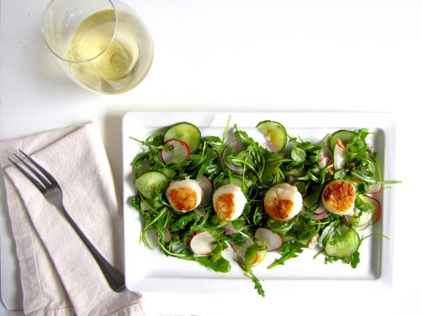 Citrus Arugual Salad with Seared Scallops