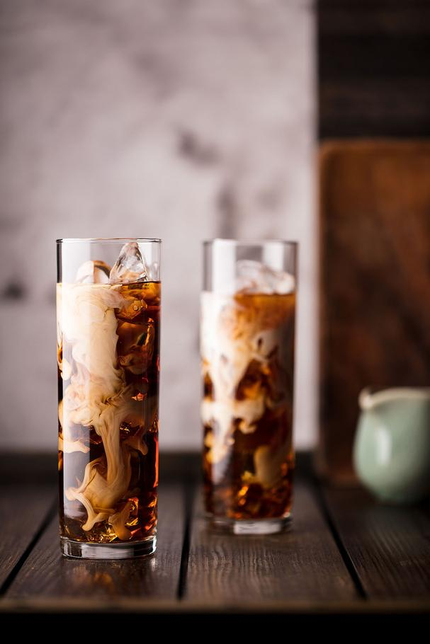 Iced Coffee with Cream Swirling