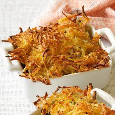 Seafood bake with crispy hashbrown crust