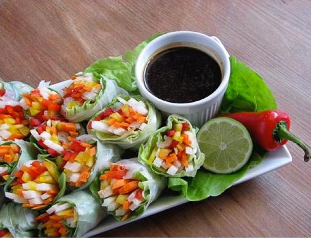 Vegetarian Spring Rolls with Garlic Lime Dipping Sauce