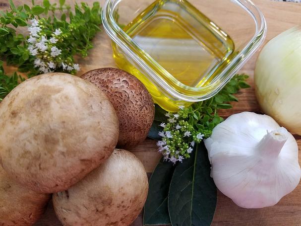 Mushrooms, herbs, garlic, shallots, olive oil