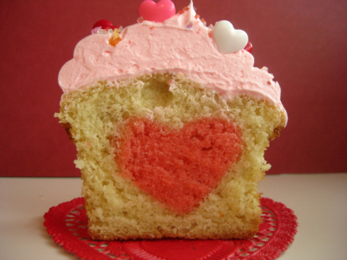 Heart Baked into a Cupcake