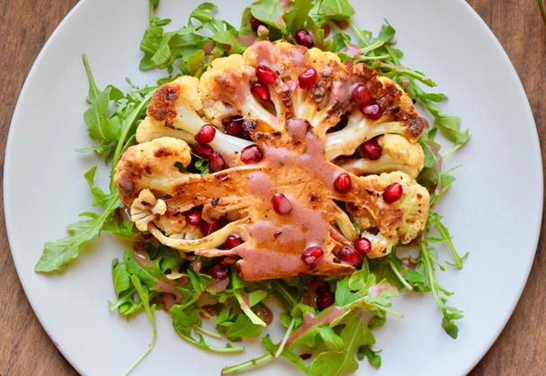 Cauliflower Steaks with Pomegranate Sauce
