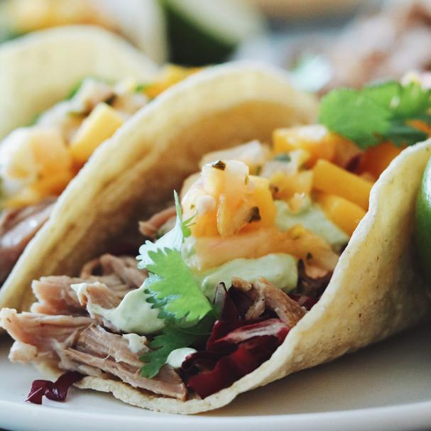 Slow Cooker Pulled Pork Tacos with Avocado Cream