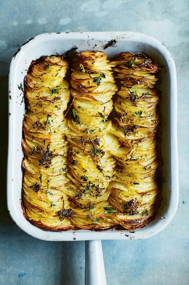 Crispy sliced and stacked lemon-roasted hasselback potatoes