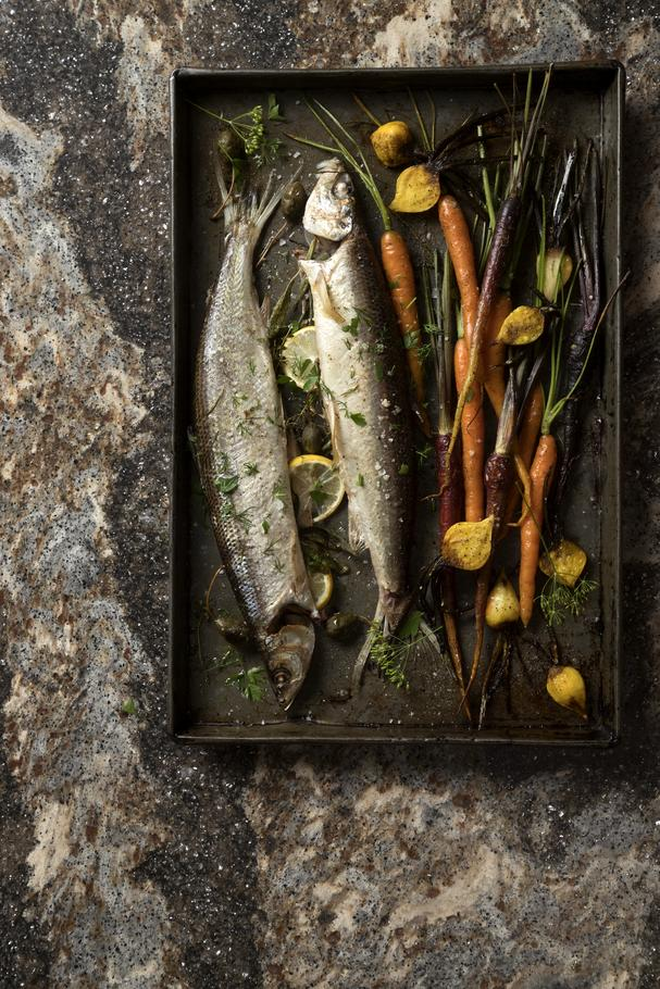 Whole Branzino with Roasted Vegetables