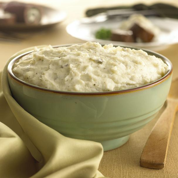 Goat cheese mashed potatoes with garlic and sage
