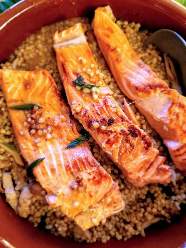 Pan-Seared Salmon with Mushrooms and Miso Sorghum