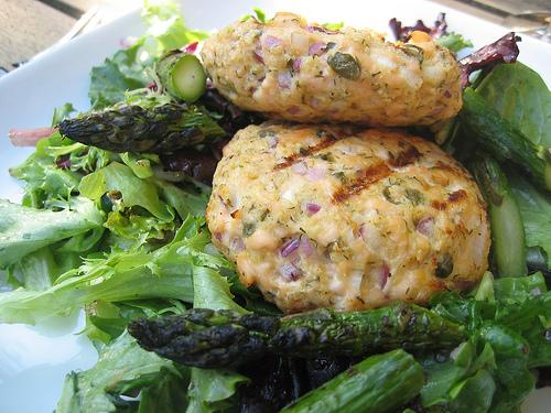 Keto Salmon Cakes with Asparagus and Greens