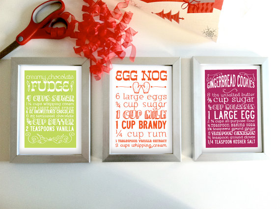 Set of 3 Christmas Recipe Greeting Cards from articipe on Etsy