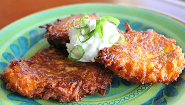 sweet potato latkes with apple and onion