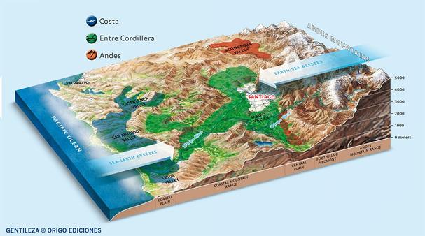 Wine of Chile topographical map