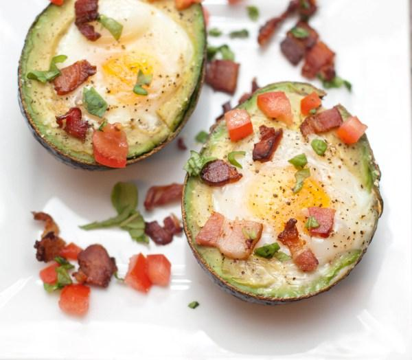 Avocado Baked Eggs with Tomato, Basil and Bacon