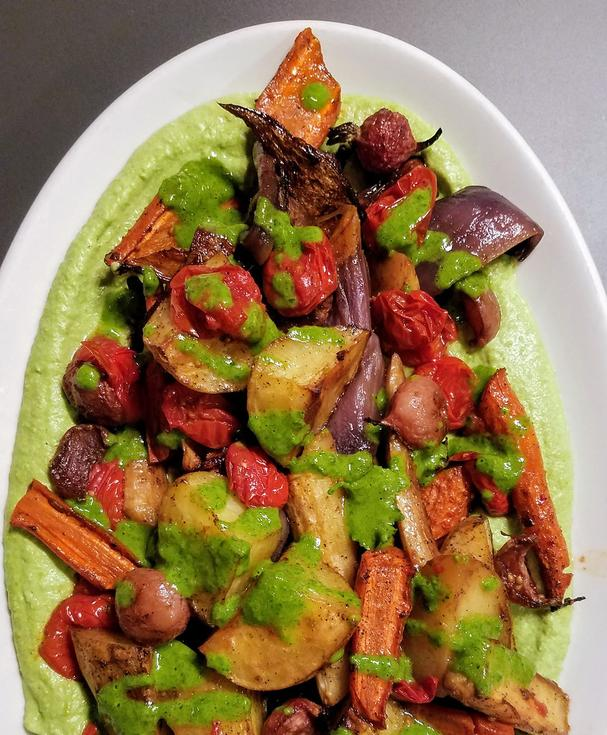 Roasted veg with smashed peas and herb sauce
