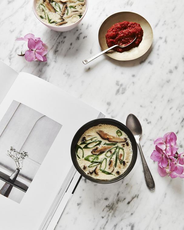 Savory Custards with Shiitake Mushrooms and Spring Onion