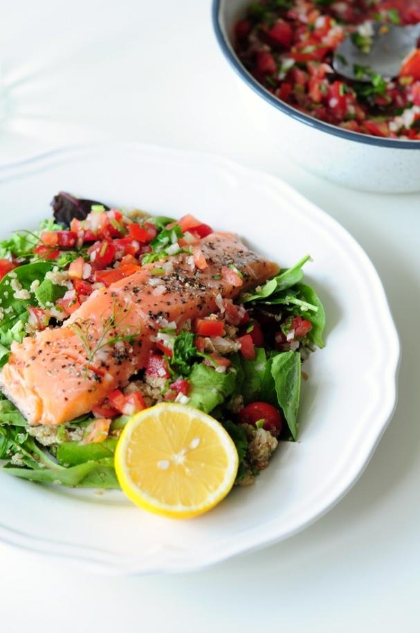 Sous Vide Salmon with Pico de Gallo and Quinoa Salad