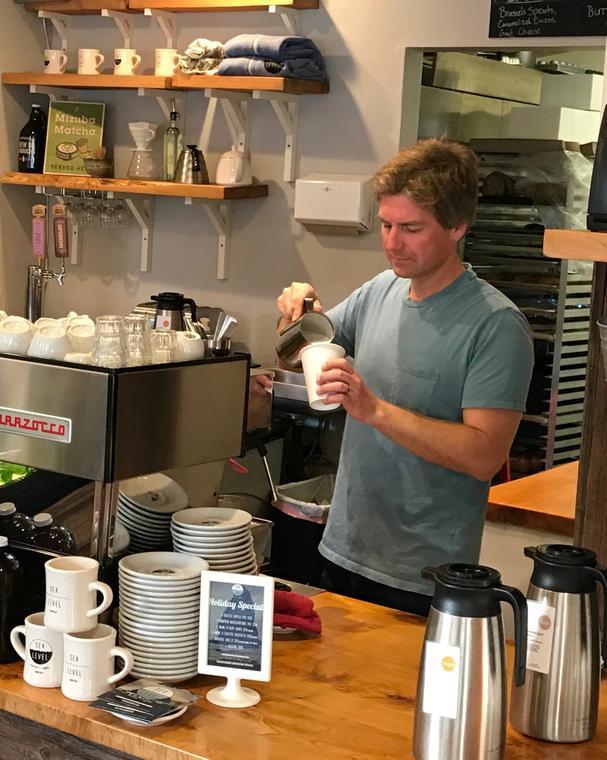 Making espresso at Sea Level Bakery