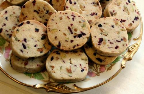 Reduced Sugar Cranberry Pistachio Shortbread