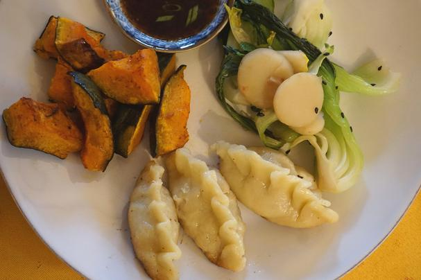 Gluten-free pot stickers with roasted kabocha and bok choy