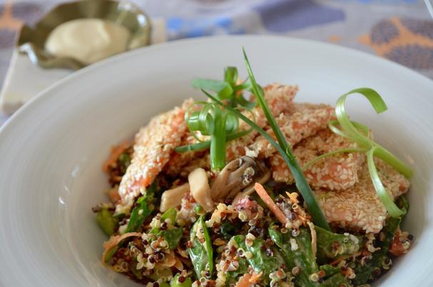 Healthy Quinoa Salad with Sesame-Crusted Salmon