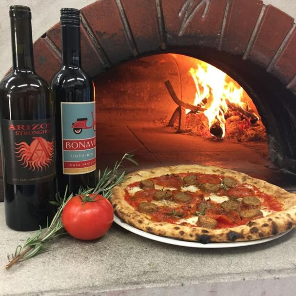 Wine and wood-fire pizza