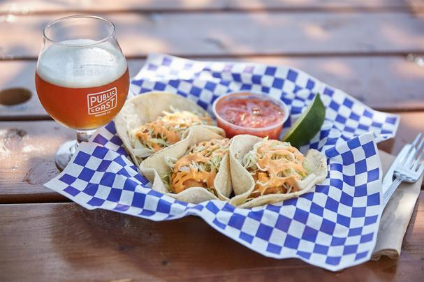 Fish tacos at Public Coast Brewery