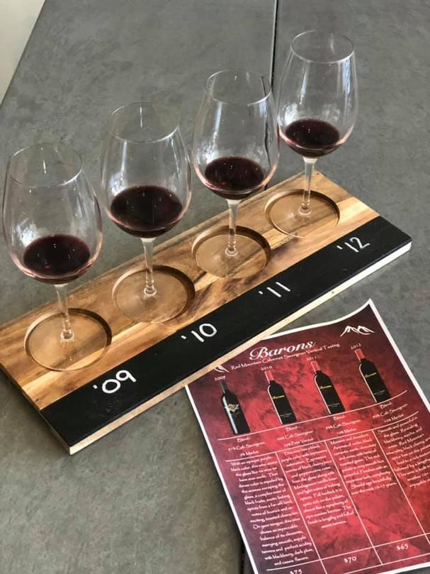 Vertical wine tasting at Barons Winery, Walla Walla