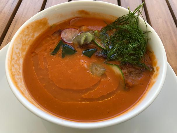 gazpacho with crispy chickpeas and market vegetables