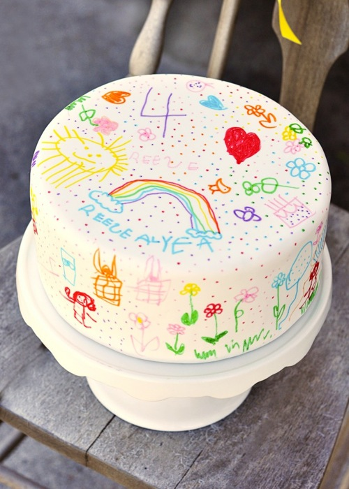 Doodled Rainbow Birthday Cake