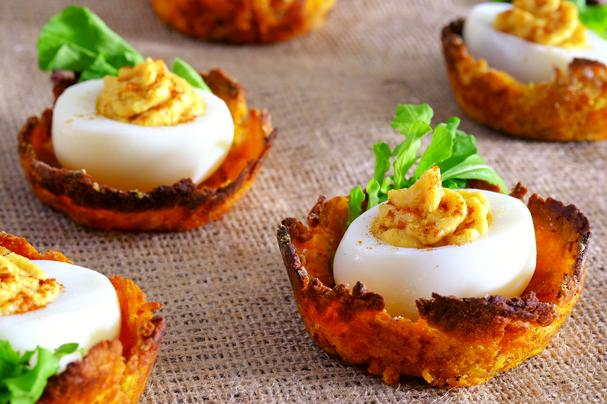 Deviled Eggs on Sweet Potato Nests