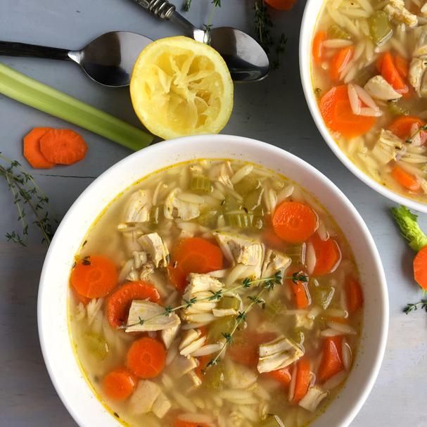 Light Greek Lemon Chicken Orzo Soup