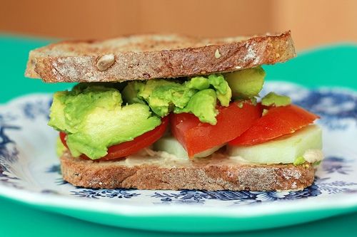 Avocado and Tomato Sandwich