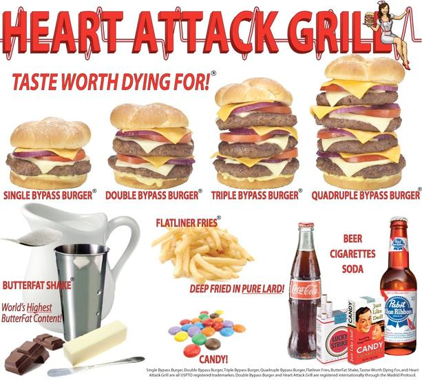 paula deen heart attack burger. Heart Attack Grill Menu
