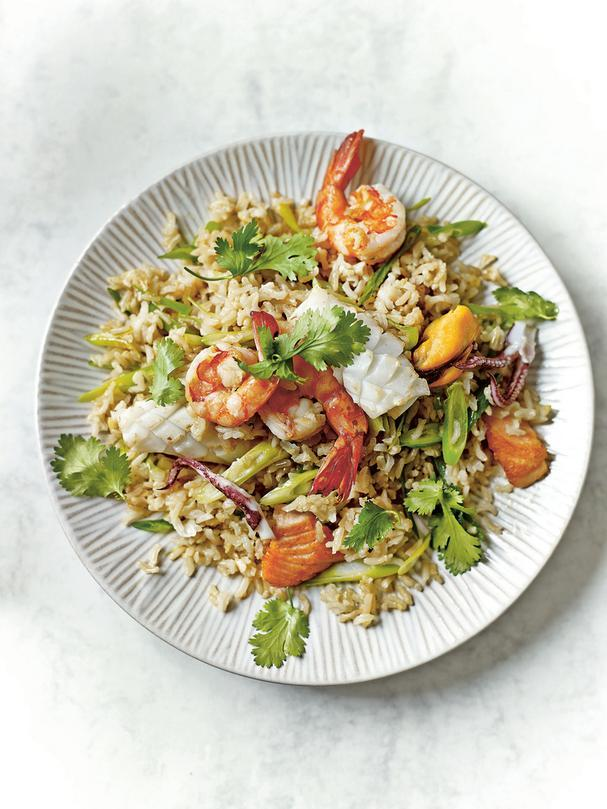 Seafood Brown Rice Stir-Fry with Lemongrass and Cilantro