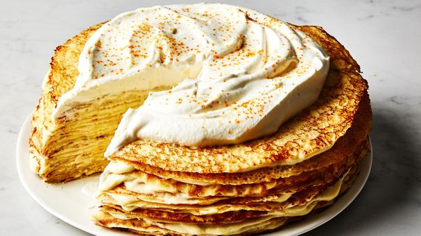 Crepe Cake with Cardamom Custard