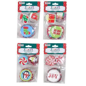 Christmas Cupcake Liners with toppers