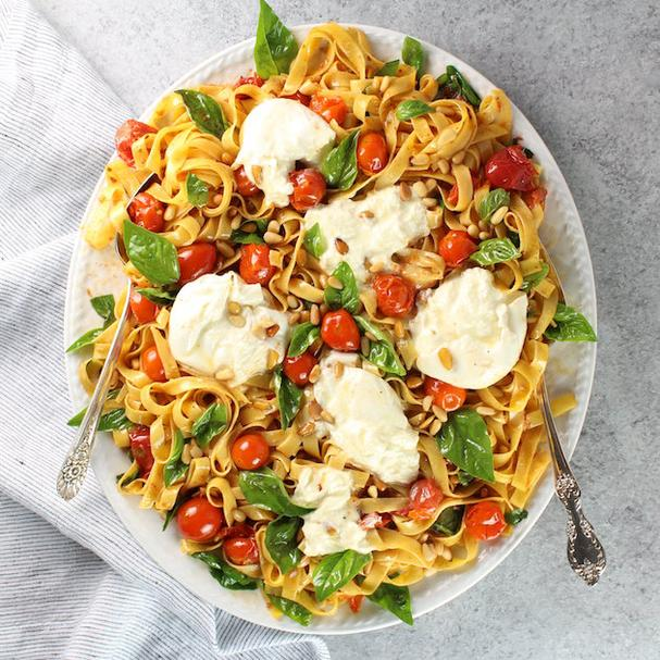 Tagliatelle with Burrata, Tomatoes, and Pine Nuts