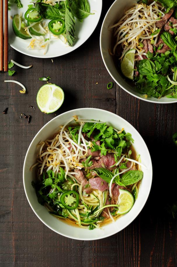 Zucchini Noodle and Beef Pho