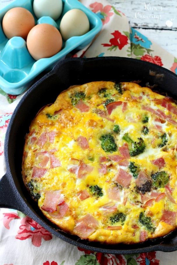 Gluten free broccoli and ham frittata