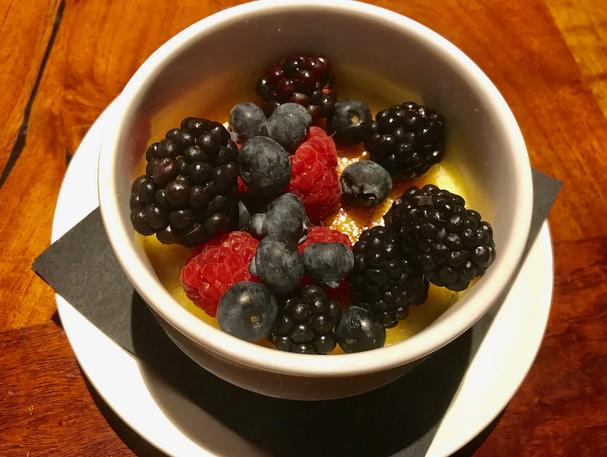 Tahitian Vanilla Bean Creme Brulee with Fresh Berries