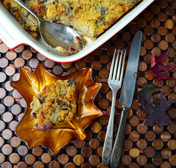 Vegan Apple Chestnut Cornbread Stuffing
