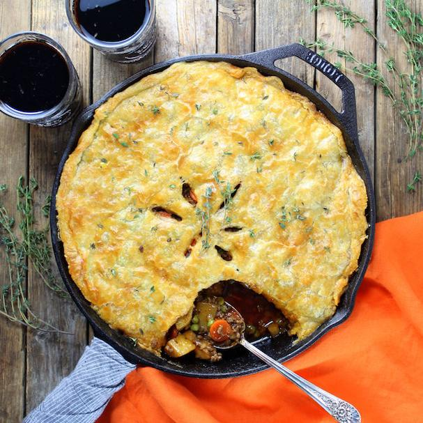 Beef Pot Pie with parsnips and potatoes